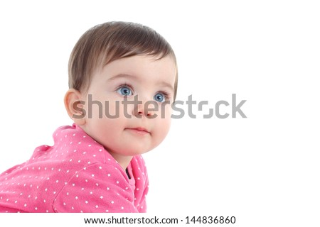 Portrait of a beautiful baby with a big blue eyes isolated on a white background