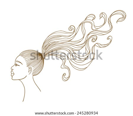 Portrait of a beautiful black girl with long curly hair. Line art. Isolated on white background  - stock photo