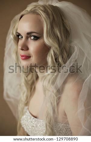 Portrait of a beautiful blonde bride posing over wooden background. daylight. studio shot - stock photo
