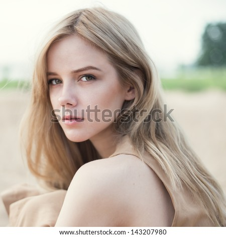 portrait of a beautiful blonde close-up