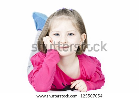 Portrait of a beautiful blue eyed girl - stock photo