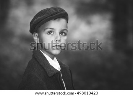 portrait of a beautiful boy black and white photography