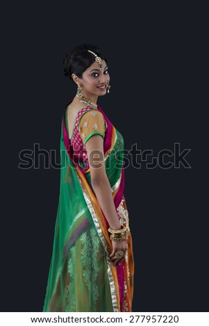 Portrait of a beautiful bride smiling - stock photo