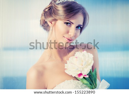 Portrait of a beautiful bride, sweet and sensual.  - stock photo