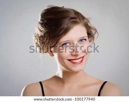 portrait of a beautiful brunette girl - stock photo