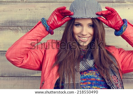 Portrait of a beautiful brunette girl in  in park. Warm sunny day. Outdoors  - stock photo