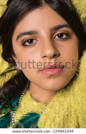 Portrait of a beautiful brunette girl posing - stock photo