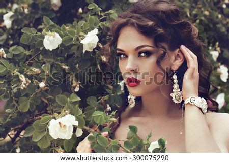 portrait of a beautiful brunette girl with luxury accessories. Beauty with jewelry. - stock photo