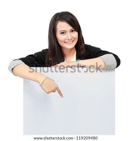 Portrait of a beautiful business woman holding a blank billboard. Ready to add text. Isolated over white background. - stock photo