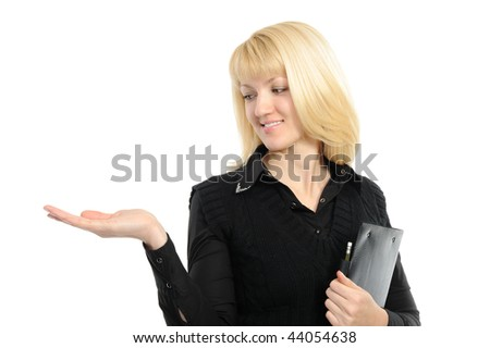 Portrait of a beautiful business woman holding out her hand, presenting something. Isolated on white background