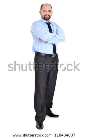 portrait of a beautiful businessman in a blue shirt