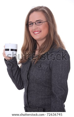Portrait of a beautiful businesswoman in a suit drinking coffee or tea. Isolated on white background - stock photo