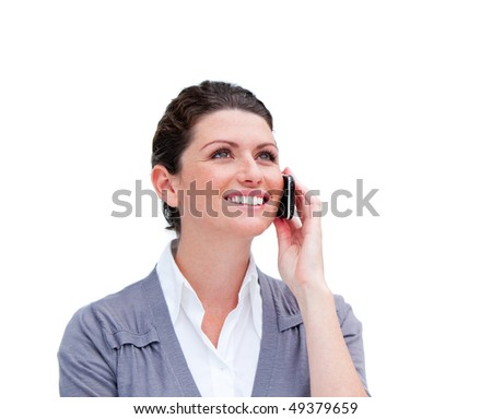 Portrait of a beautiful businesswoman on phone isolated in a white background