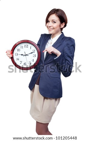 Portrait of a beautiful businesswoman with clock - stock photo