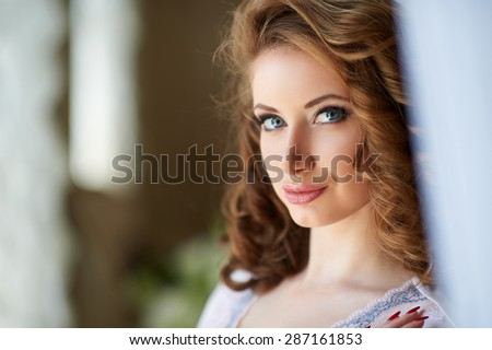 Nude Beautiful blond curly haired