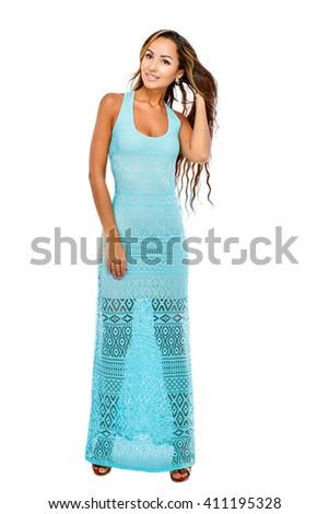 Portrait of a beautiful charming slim woman in evening dress. Isolated on white background. - stock photo