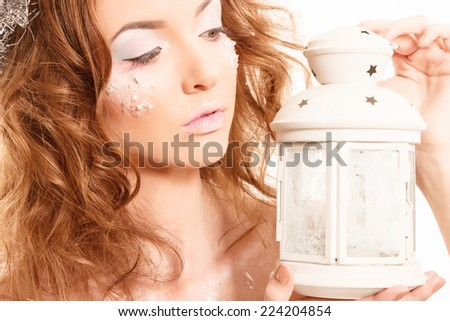 Portrait of a beautiful Christmas girl - stock photo