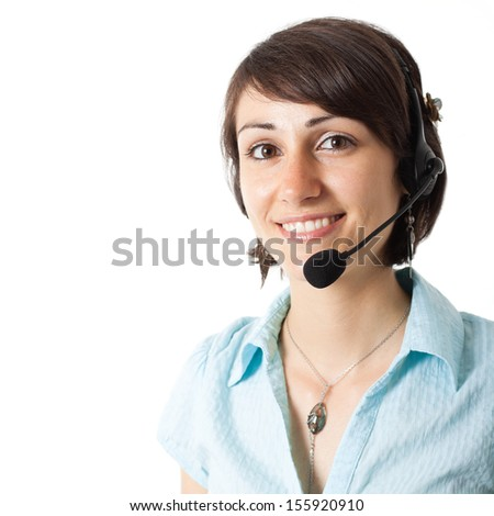Portrait of a beautiful customer representative isolated on white - stock photo