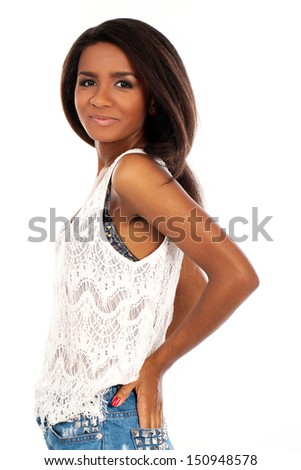 Portrait of a beautiful dark-skinned model posing and smiling - stock photo