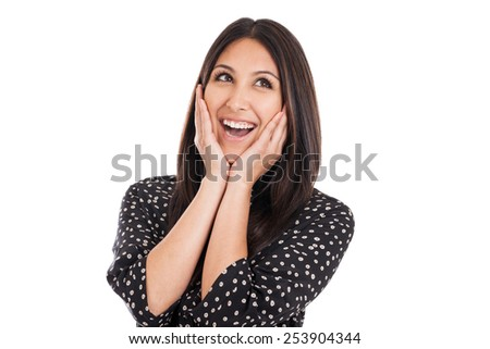 Portrait of a beautiful early 20s mixed race Mexican Japanese business woman with happy surprise expression isolated on white - stock photo