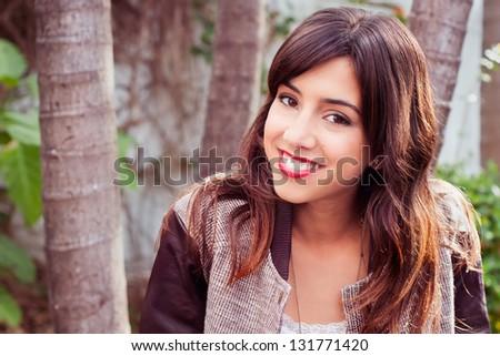 Portrait of a beautiful european brunette - stock photo