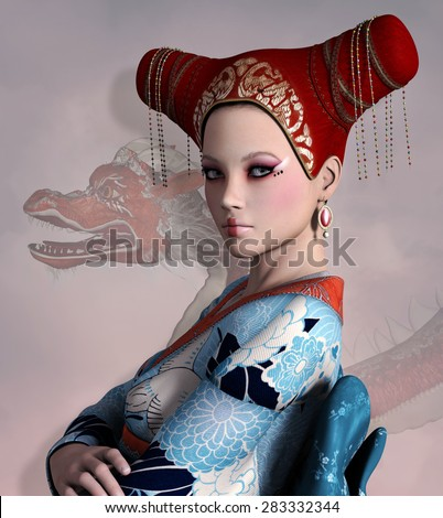 Portrait of a beautiful fantasy oriental woman - stock photo