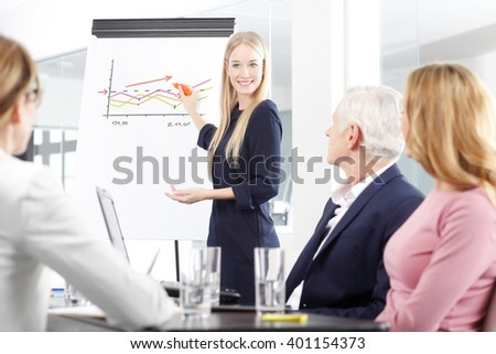 Portrait of a beautiful female business professional standing in front of clipboard and sharing her ideas with her colleagues at business meeting.