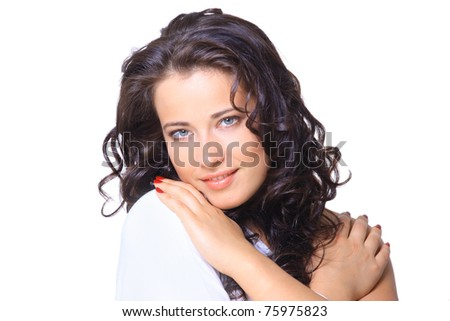 Portrait of a beautiful female model on white background - stock photo