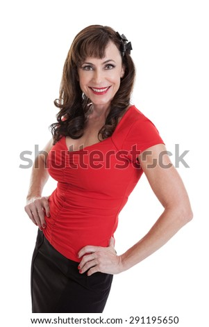 Portrait of a beautiful fit mid 40s woman with hands on hips isolated on white