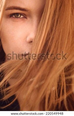 portrait of a beautiful girl close-up - stock photo