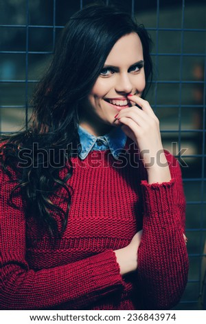 Portrait of a beautiful girl in a hat, smiling, lifestyle - stock photo