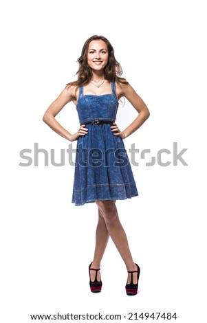 Portrait of a beautiful girl in a light summer dress. Isolated over white background.
