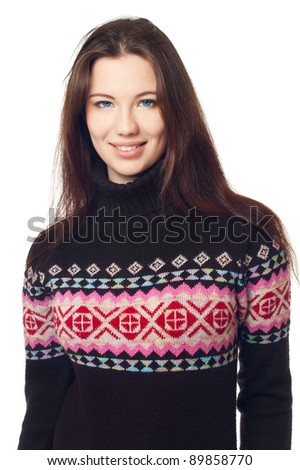 Portrait of a beautiful girl in a warm sweater,  on a white background - stock photo