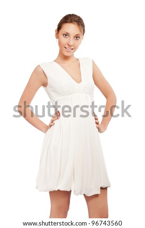 portrait of a beautiful girl in a white dress isolated on white background - stock photo