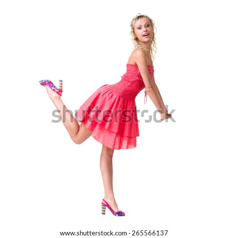 portrait of a beautiful girl in dress isolated on white background in full body