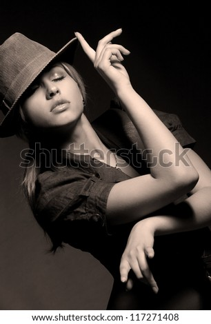 portrait of a beautiful girl in the active dance - stock photo