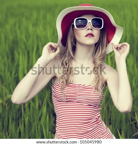 portrait of a beautiful girl in the forest - stock photo