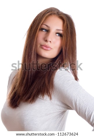 Portrait of a beautiful girl isolated - stock photo