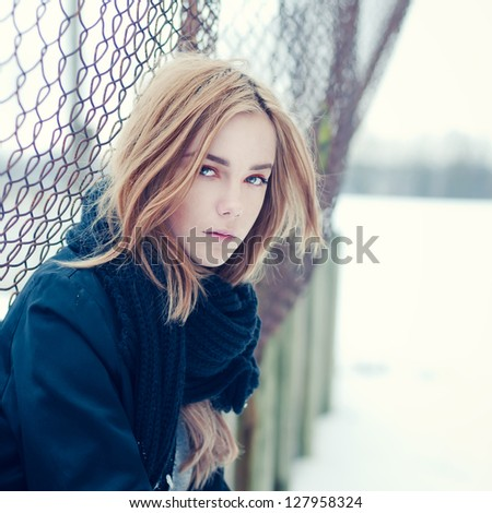 portrait of a beautiful girl on the streets - stock photo