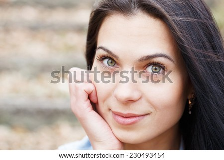 Portrait of a beautiful girl outdoor. - stock photo