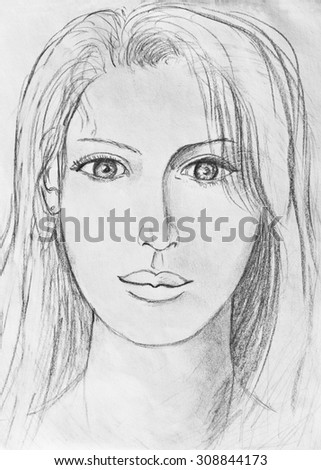 Portrait of a beautiful girl pencil drawing