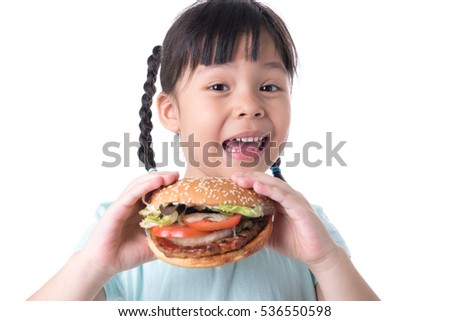 portrait of a beautiful girl, teenager and schoolgirl, holding a hamburger on a white background
