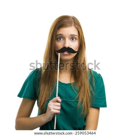 Portrait of a beautiful girl with a mustache isolated on white background - stock photo