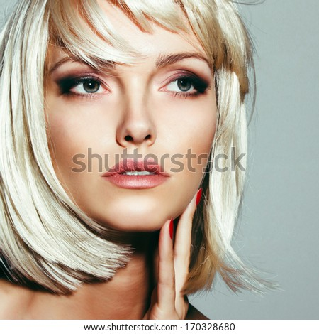 Portrait of a beautiful girl with a thoughtful look, closeup - stock photo