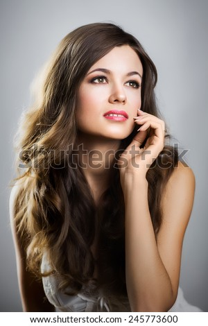 Portrait of a beautiful girl with beautiful hair - stock photo