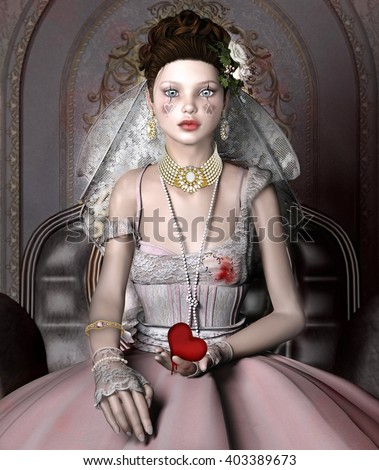Portrait of a beautiful girl with broken heart in her hands - 3D illustration