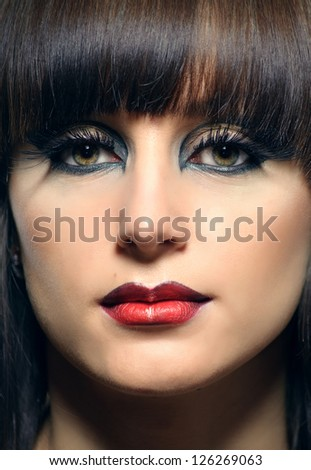 portrait of a beautiful girl with dyed hair, professional hair coloring and beautiful makeup