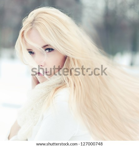 portrait of a beautiful girl with long hair - stock photo