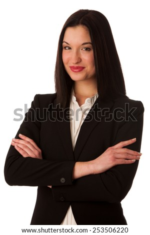 Portrait of a beautiful happy asian business woman isolated over white