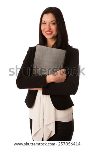 Portrait of a beautiful happy asian business woman isolated over white - stock photo
